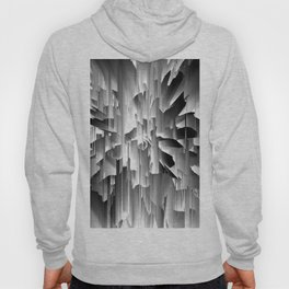 Flowers Exploding with Glitch in Black and White Hoody