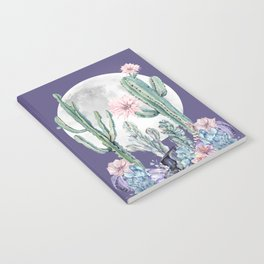 Desert Cactus Full Moon Succulent Garden on Purple Notebook