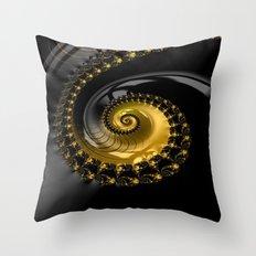 Fractal Shell Black Gold Throw Pillow