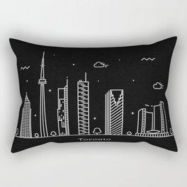 Toronto Minimal Nightscape / Skyline Drawing Rectangular Pillow