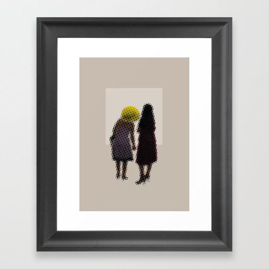 She tried, but all she could see was the missing picture Framed Art Print