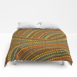 Dot Art Aboriginal Art Waves Earth Comforters