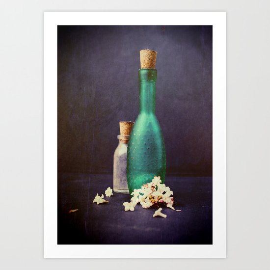 Glass bottles with Petals of a Winter Blossom Art Print