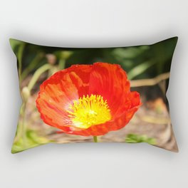 Red Poppy Flower Rectangular Pillow