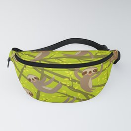 pattern funny and cute smiling Three-toed sloth on green branch tree creeper Fanny Pack