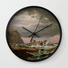 Shipwreck on the Norwegian Coast, Johan Christian Dahl Wall Clock