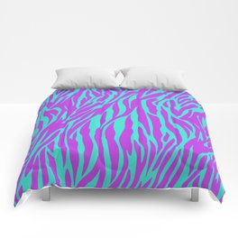 Purple and Green Zebra print Comforters