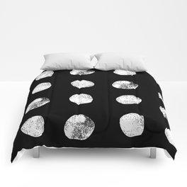 Linocut minimal black and white dots pattern minimalist texture basic art Comforters