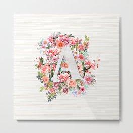 Initial Letter A Watercolor Flower Metal Print