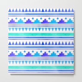 Seamless watercolor geometric pattern in native american style. Boho design Metal Print