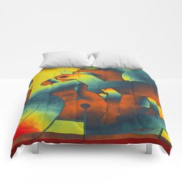 Abstract ART - Simply A Horse - blue red yellow Comforters