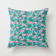 Turquoise blossom blooms painting abstract pattern garden gardener plants summer spring bright  Throw Pillow