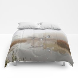 Cinnamon Teal Ducks in the Mist Comforters
