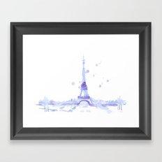 Watercolor landscape illustration_Eiffel Tower Framed Art Print