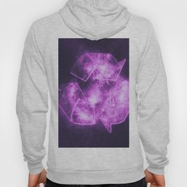 Recycle Sign. Abstract night sky background Hoody