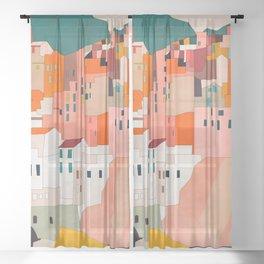italy coast houses minimal abstract painting Sheer Curtain