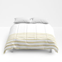 White and Gold Stripes Comforters