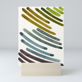 Olive Green Navy Blue Watercolor Colorful Stripes Mid Century Modern Art Primitive Abstract Art Mini Art Print
