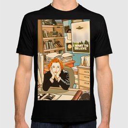 Dana Scully sit to the Fox Mulder's office T-shirt
