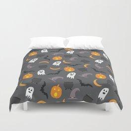 Trendy orange white gray black halloween ghost pattern Duvet Cover