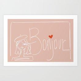 bonjour girl Art Print