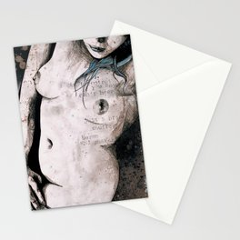 Rotten Apple: Turquoise (nude topless girl, erotic graffiti portrait) Stationery Cards