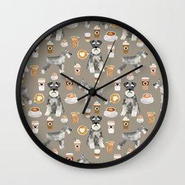 Schnauzer coffee dog breed pet art pure breed cafes pupuccino Wall Clock