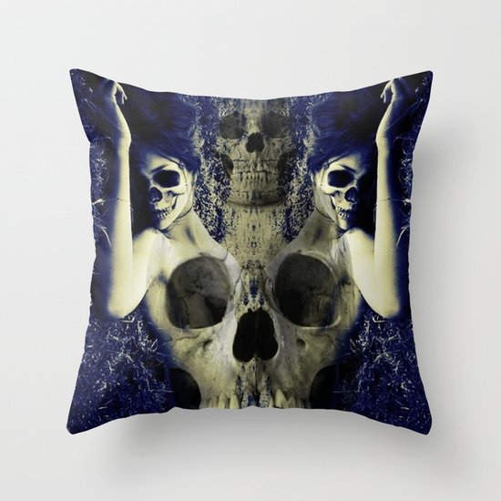 abstract skull girls Throw Pillow