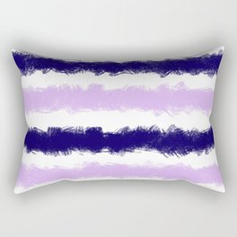 Lilac and Navy Stripes Painted Pattern Rectangular Pillow