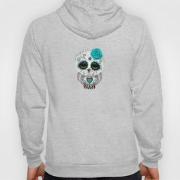 Adorable Teal Blue Day of the Dead Sugar Skull Owl Hoody