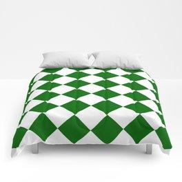 Large Diamonds - White and Dark Green Comforters
