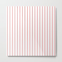 Classic Baseball Pattern Red Lines On White Metal Print
