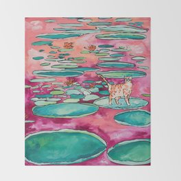 Ginger Cat amongst the Lily Pads on a Pink Lake Throw Blanket