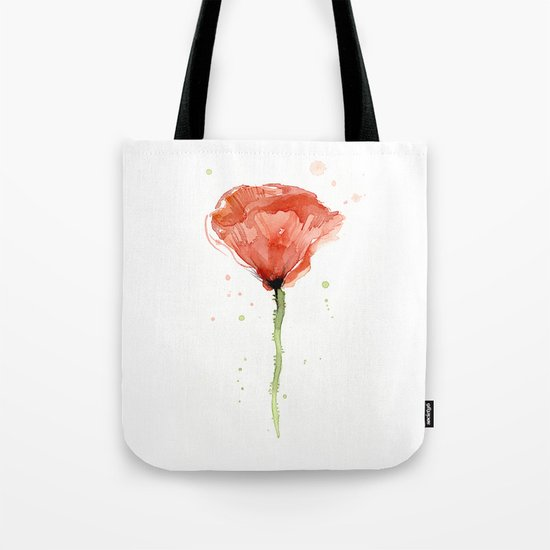 Poppy Watercolor Abstract Red Flower Tote Bag