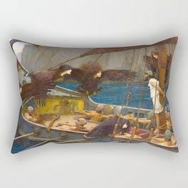 John William Waterhouse - Ulysses and the Sirens, 1891 Rectangular Pillow
