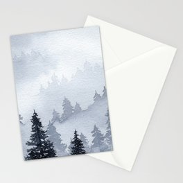 Misty Forest Watercolor Stationery Cards