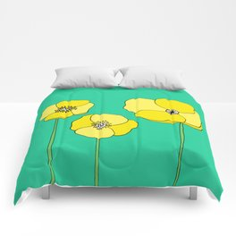 Bright Yellow and Mint Green Poppies Growing and Thriving Comforters