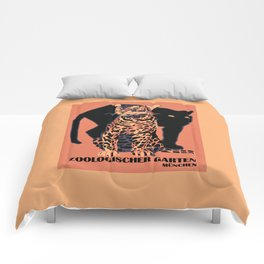 Retro vintage Munich Zoo big cats Comforters
