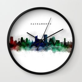 Sacramento Watercolor Skyline Wall Clock