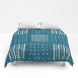 Mud Cloth Patchwork in Teal Comforters