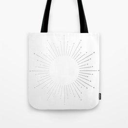Sunburst Moonlight Silver on White Tote Bag