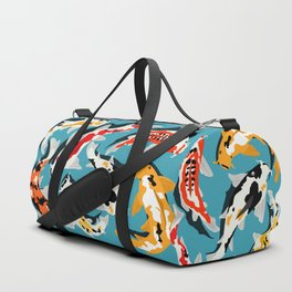 Colorful Koi Carps Swimming Around Duffle Bag