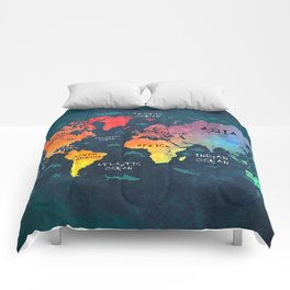 world map 49 color Comforters