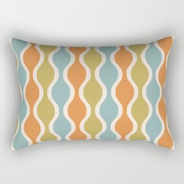 Classic Retro Ogee Pattern 842 Orange Blue and Olive Rectangular Pillow