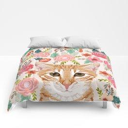 Tabby Cat florals cute spring garden kitten orange tabby cat lady funny girly cat art pet gifts  Comforters