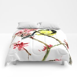 Great Tit and Spring Blossom, Yellow Pink Birds and Flowers Comforters