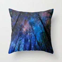 Black Trees Dark Blue Space Throw Pillow