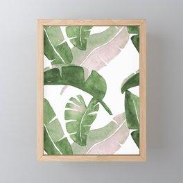 Tropical Leaves Green And Pink Framed Mini Art Print