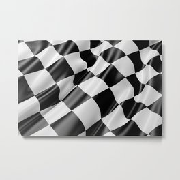Black and White Waving Racing Flag Metal Print