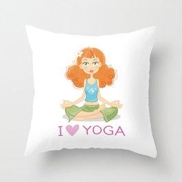 Cute Yoga Girl Sitting in Lotus Pose Throw Pillow